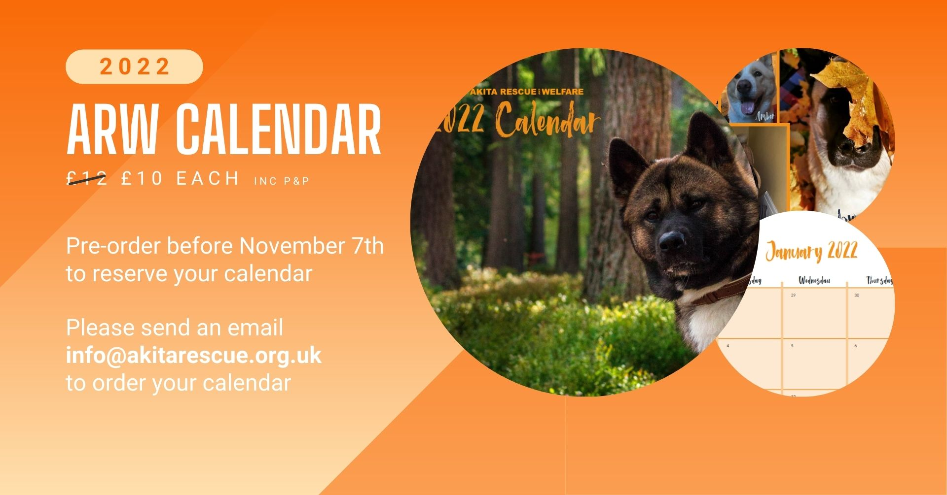 Please email info@akitarescue.org to order your calendar